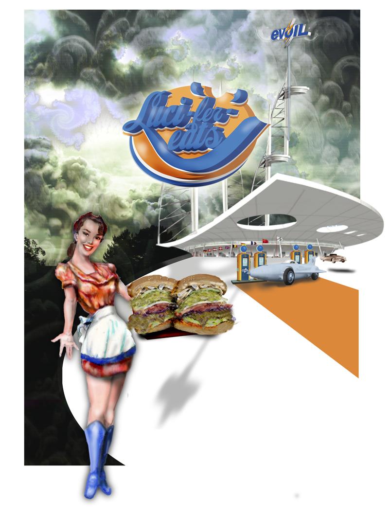 40's Styled poster of the restaurant Luci-fer-eats