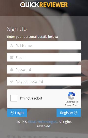 QuickReviewer Sign Up menu