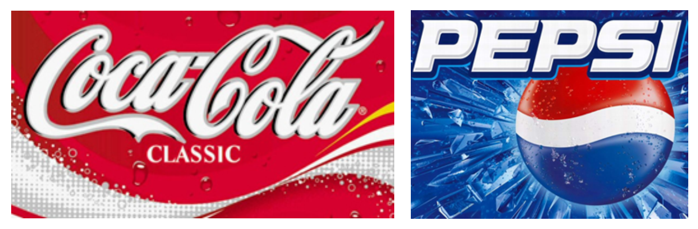 Coca-Cola and Pepsi-Cola logos the 2000s