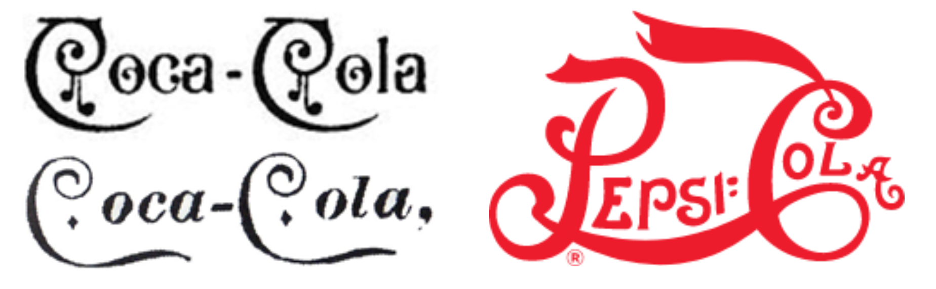 Coca-cola and Pepsi logos in 1895-1905