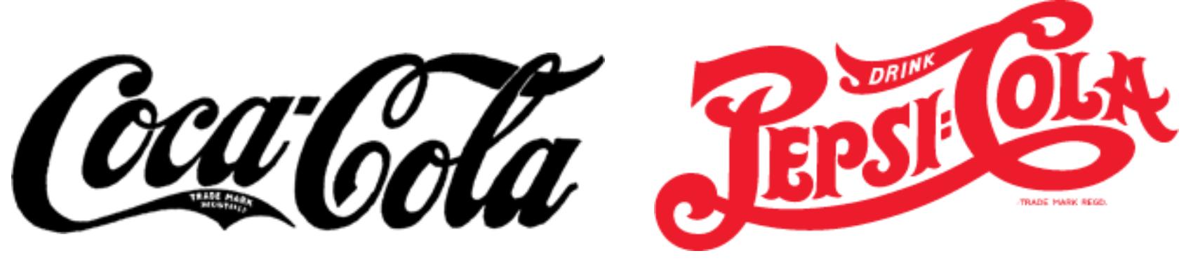 Coca-cola and Pepsi logos in 1905-1906
