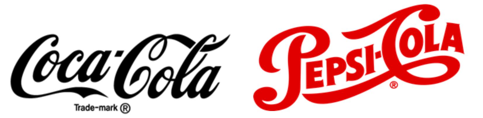 Classic Coca-Cola and Pepsi-Cola logos in the 40s