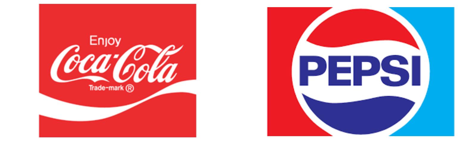 Coca-Cola and Pepsi-Cola logosin the 70s