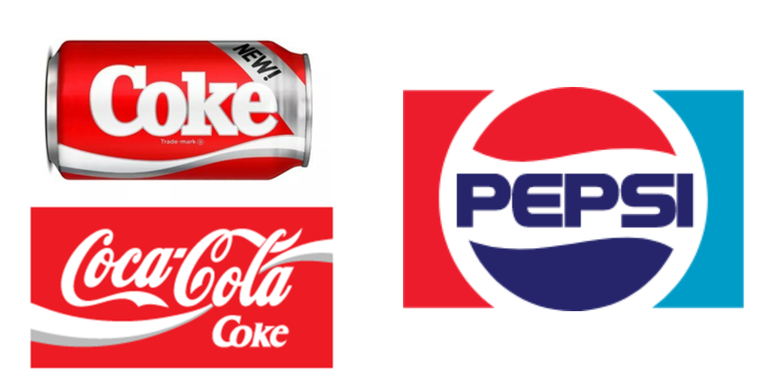 Coca-Cola and Pepsi-Cola logos in the 80s