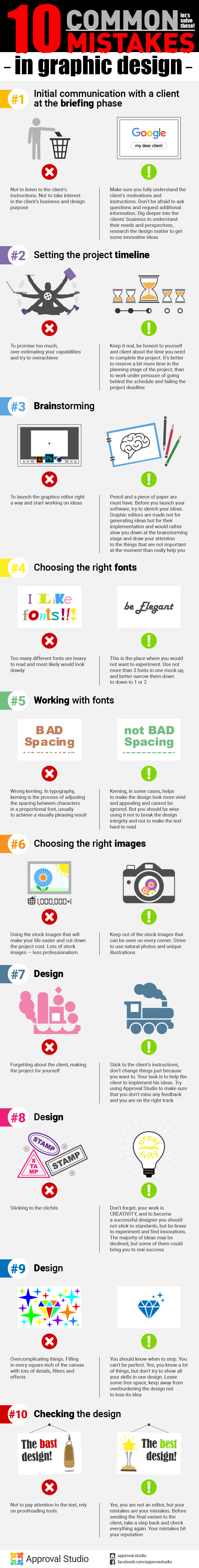 10 common mistakes in graphic design: - Initial communication with a client at the briefing phase; - Setting the project timeline; - Brainstorming; - Choosing the right fonts; - Working with fonts; - Choosing the right images; - Design; - Design; - Design; - Checking the design;