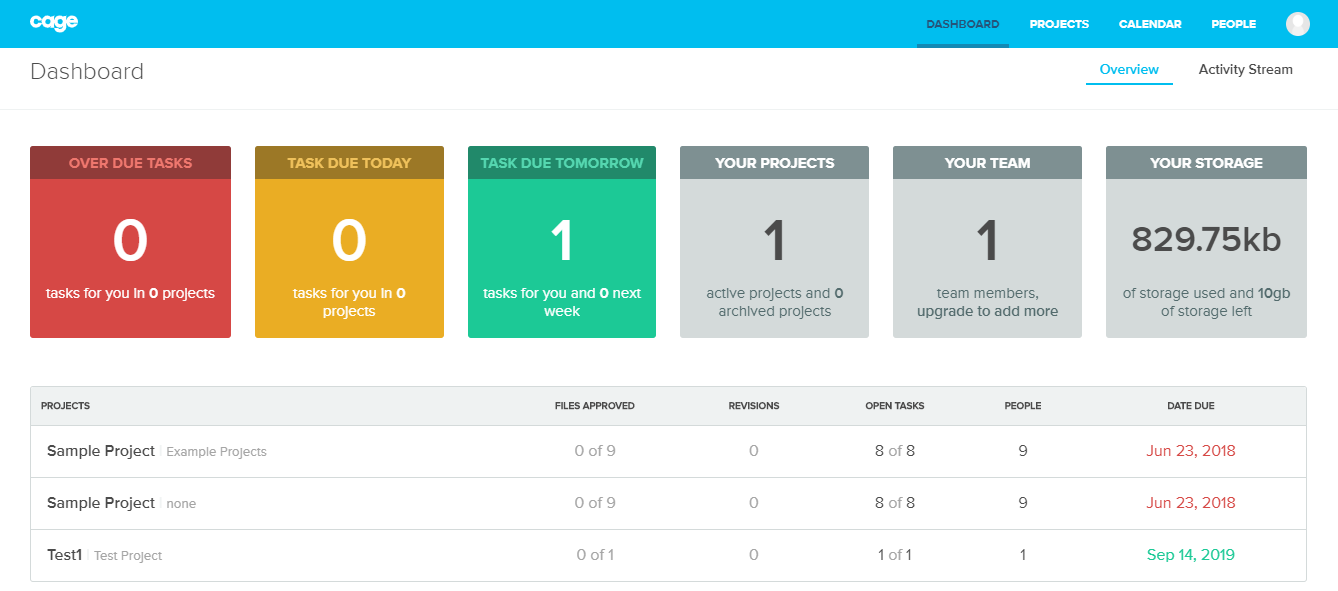 Cage app dashboard screenshot