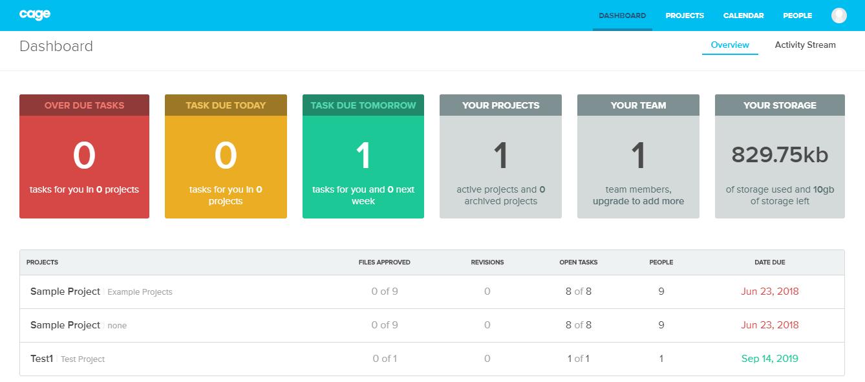 Cage app dashboard screenshot