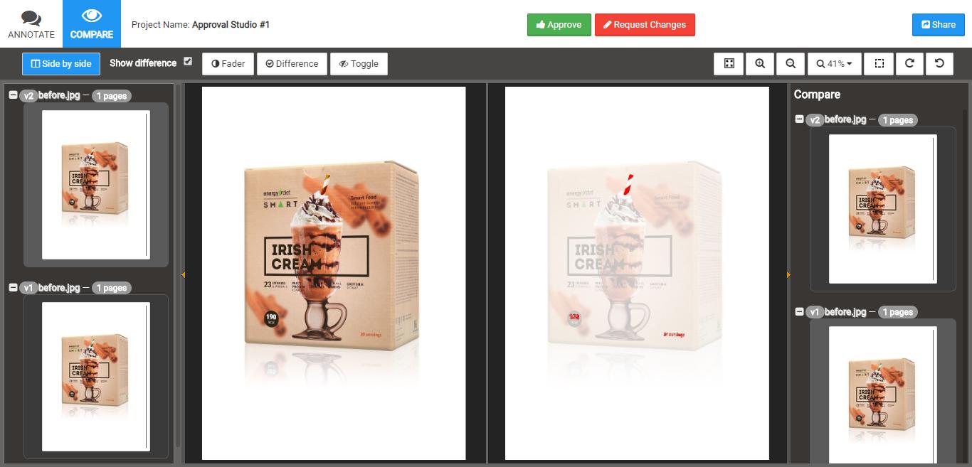 Approval Studio compare tool screenshot