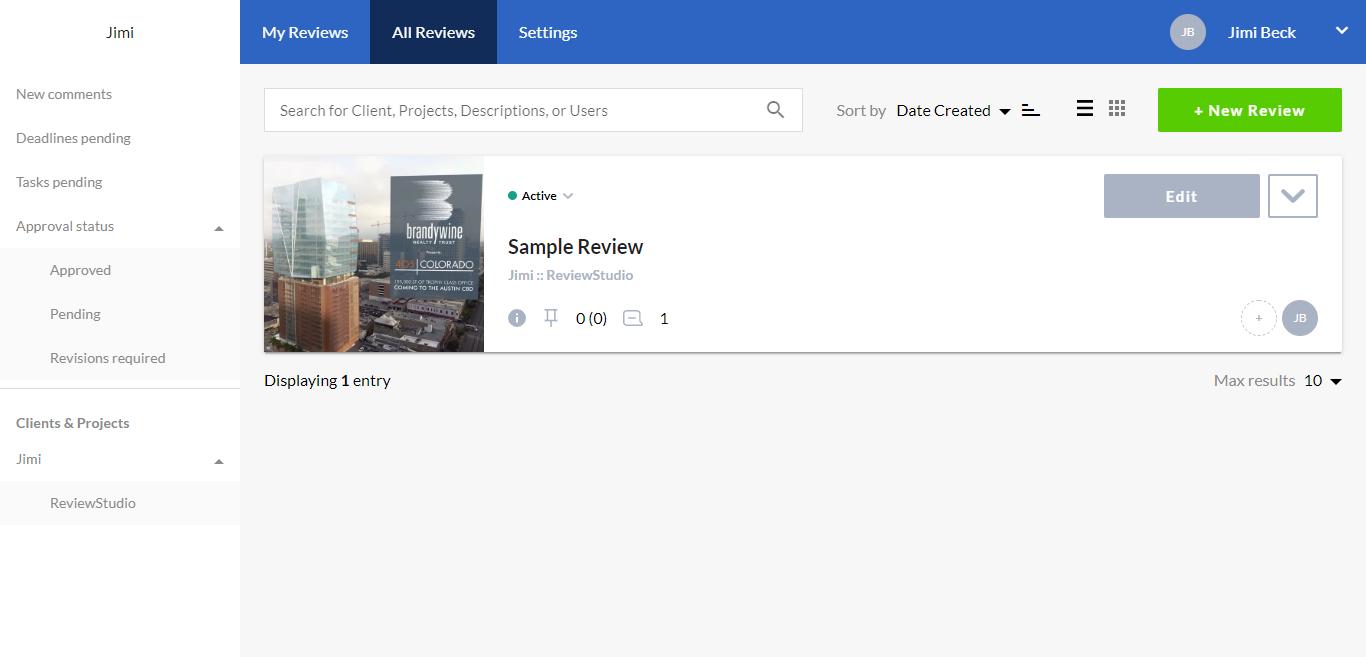 Review Studio dashboard screenshot