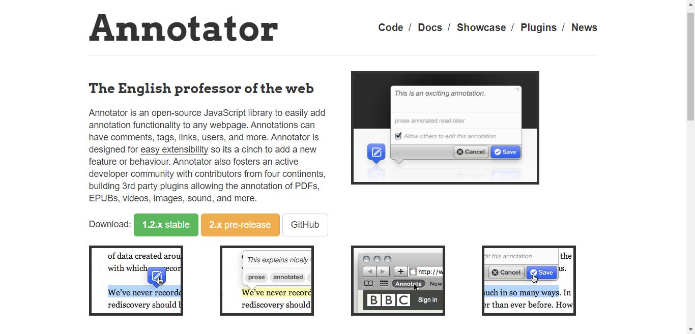 Annotator homepage