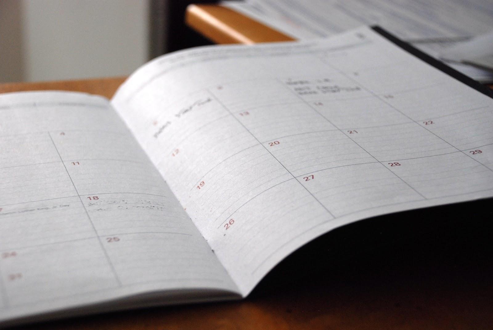 Opened paper calendar