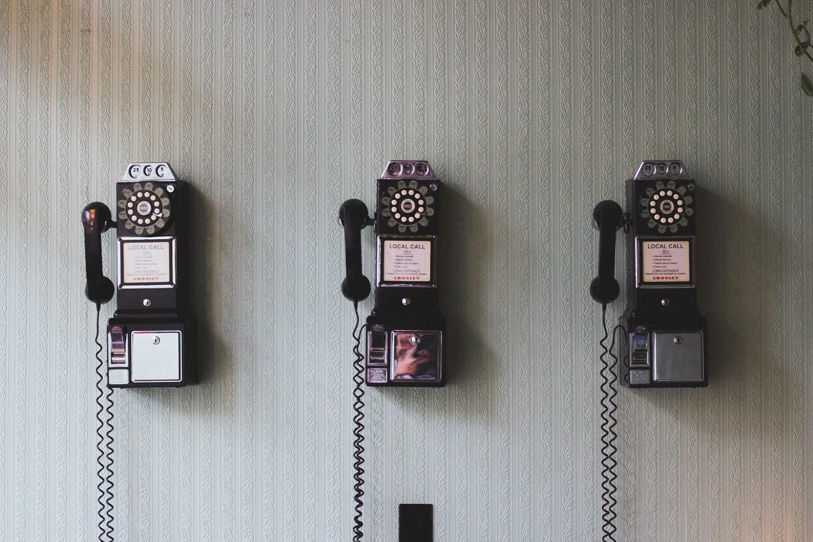 Three wall phones