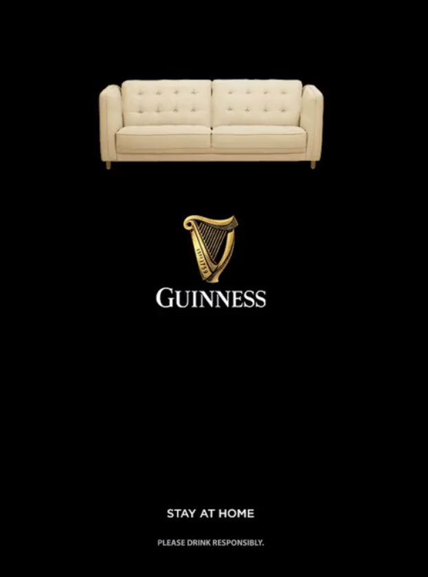 Guiness promoting staying at home by sofa picture