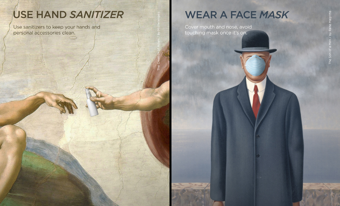 """""""Creation of Adam"""" and """"Son of a Man"""" famous artworks as quarantine promotion to use hand sanitizer and wear a fce mask"""