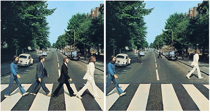 """Famous """"Beatles"""" album cover crossing the street. Redesigned for social distancing promotion"""
