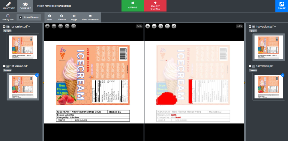 A screenshot of Approval Studio's review tool in Compare Mode.