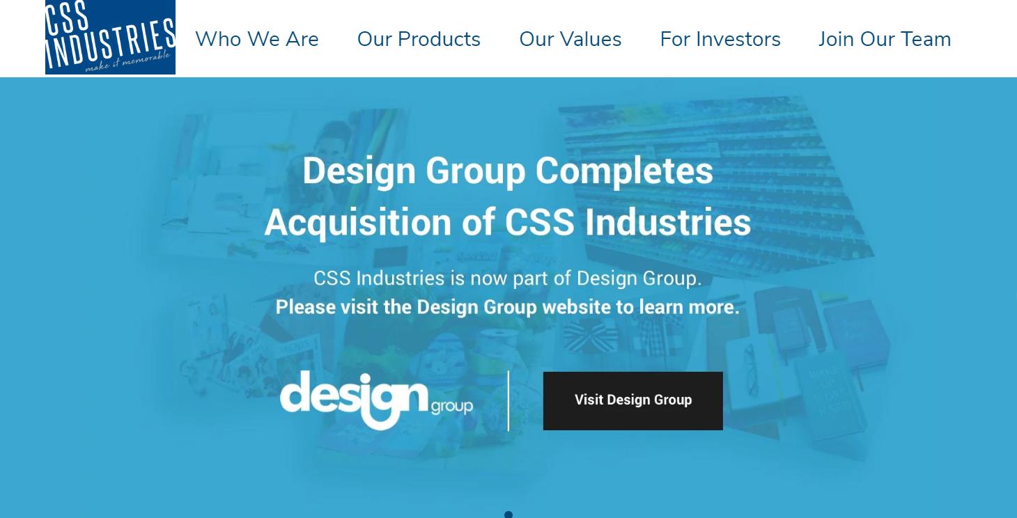 A screenshot from CSS Industries' website.