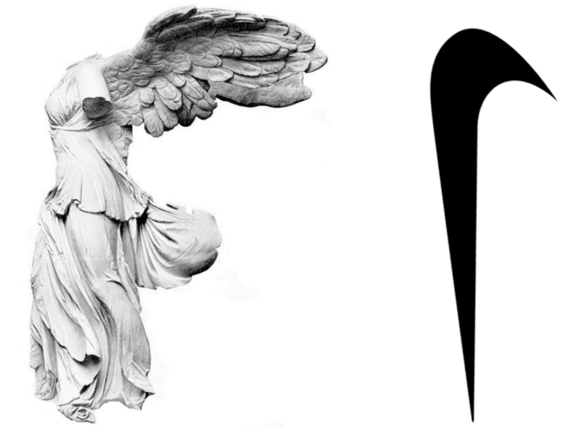 Comparison of the goddess' statue with the swoosh. Never would have guessed!