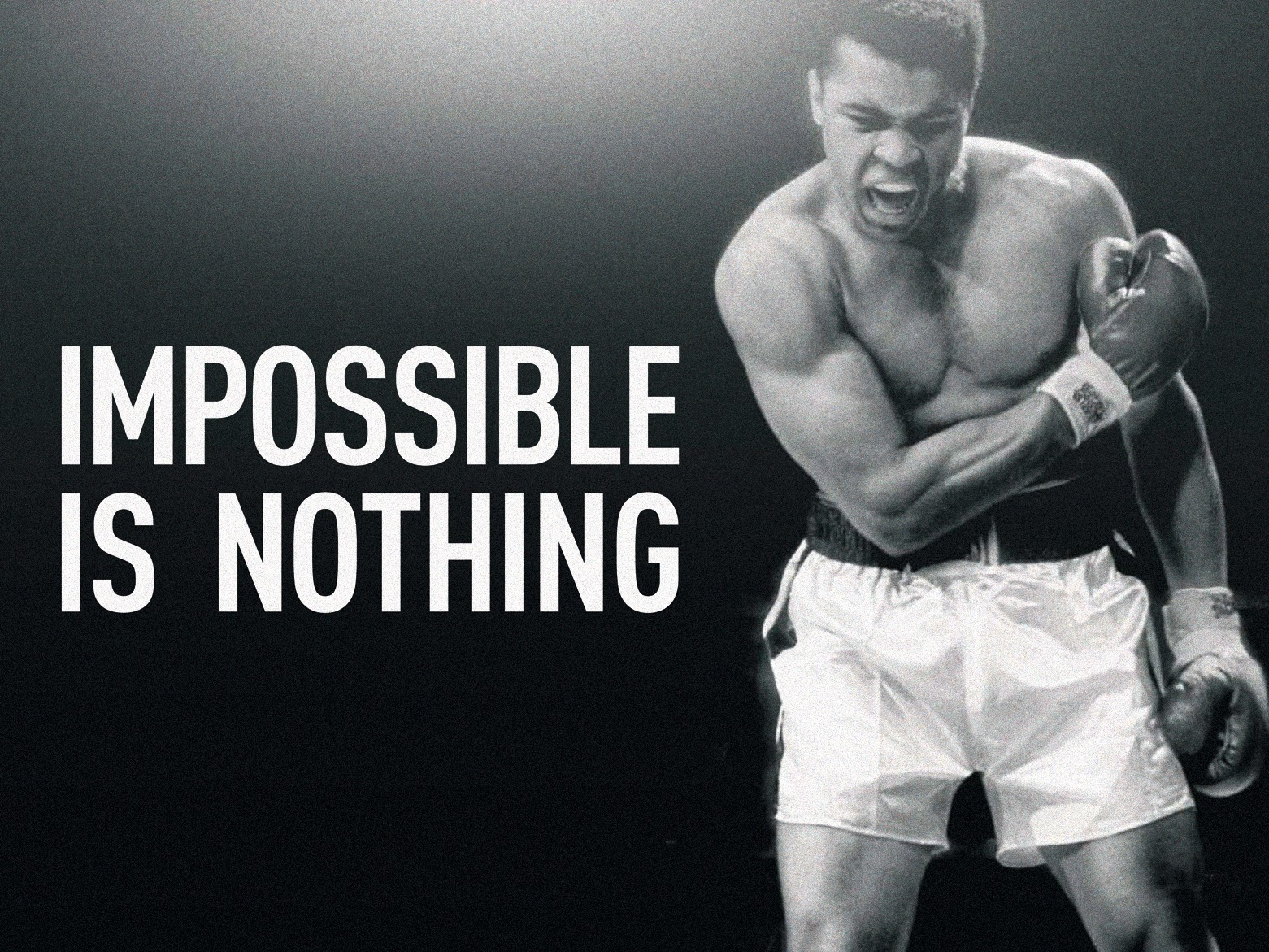 'Impossible is nothing' Adidas slogan inspired by Muhammad Ali's speech.
