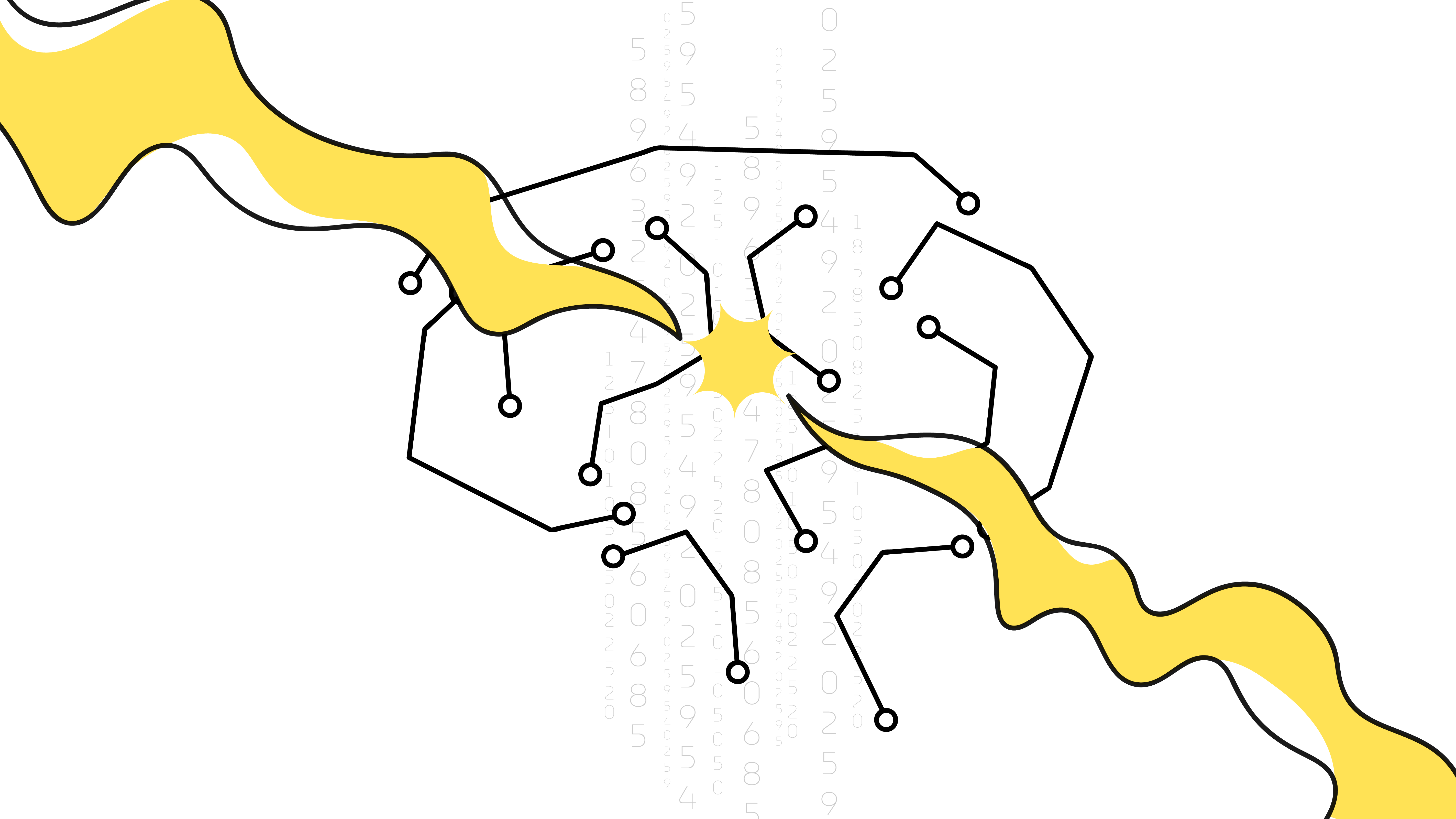 An outline illustration of a wired brain with the spark in the centre.