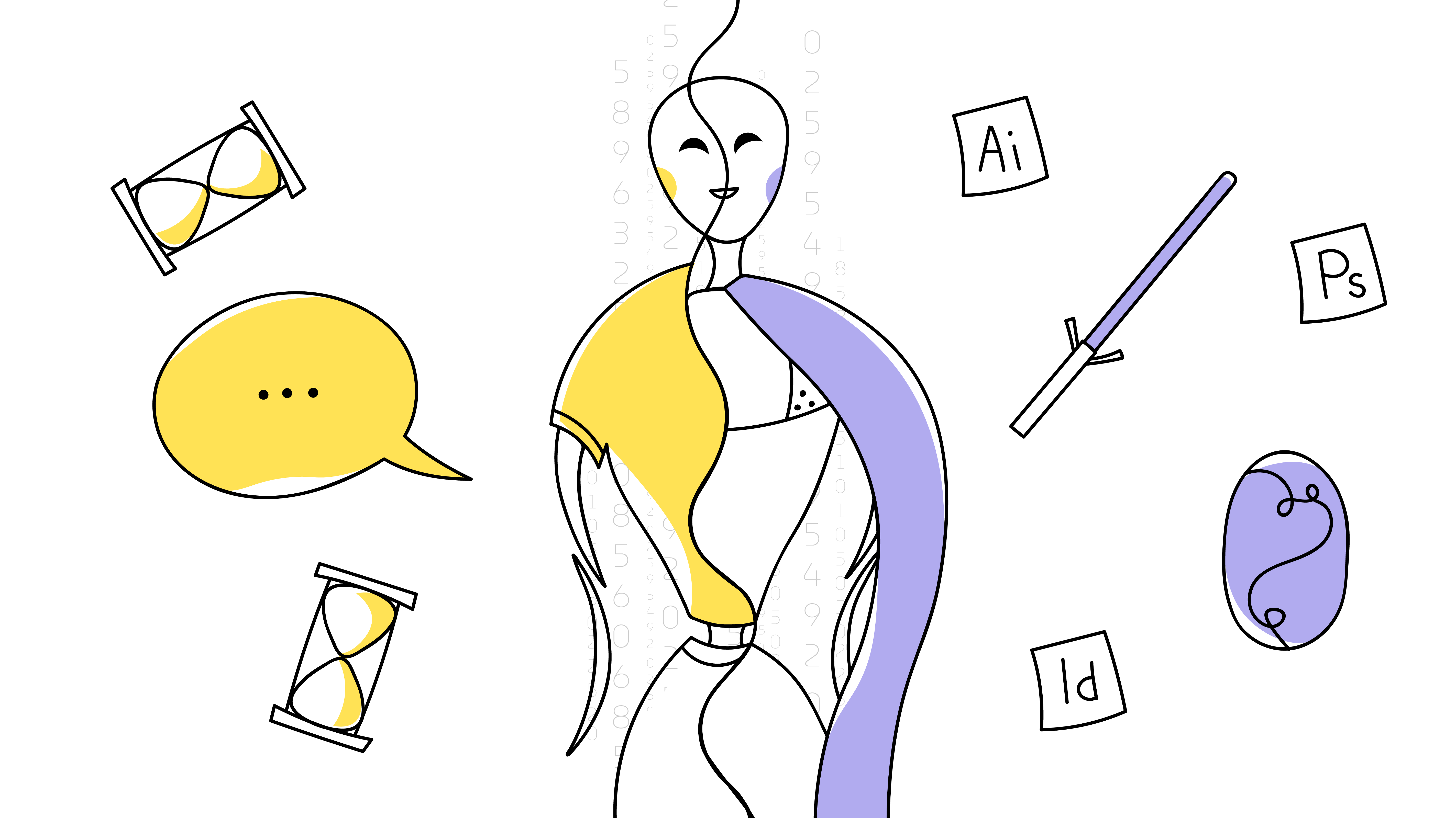 An outline illustration with the AI robot divided in half. One side is yellow and it has in casual clothes (represents soft skills). Another is purple and it has a robe (represents hard skills).