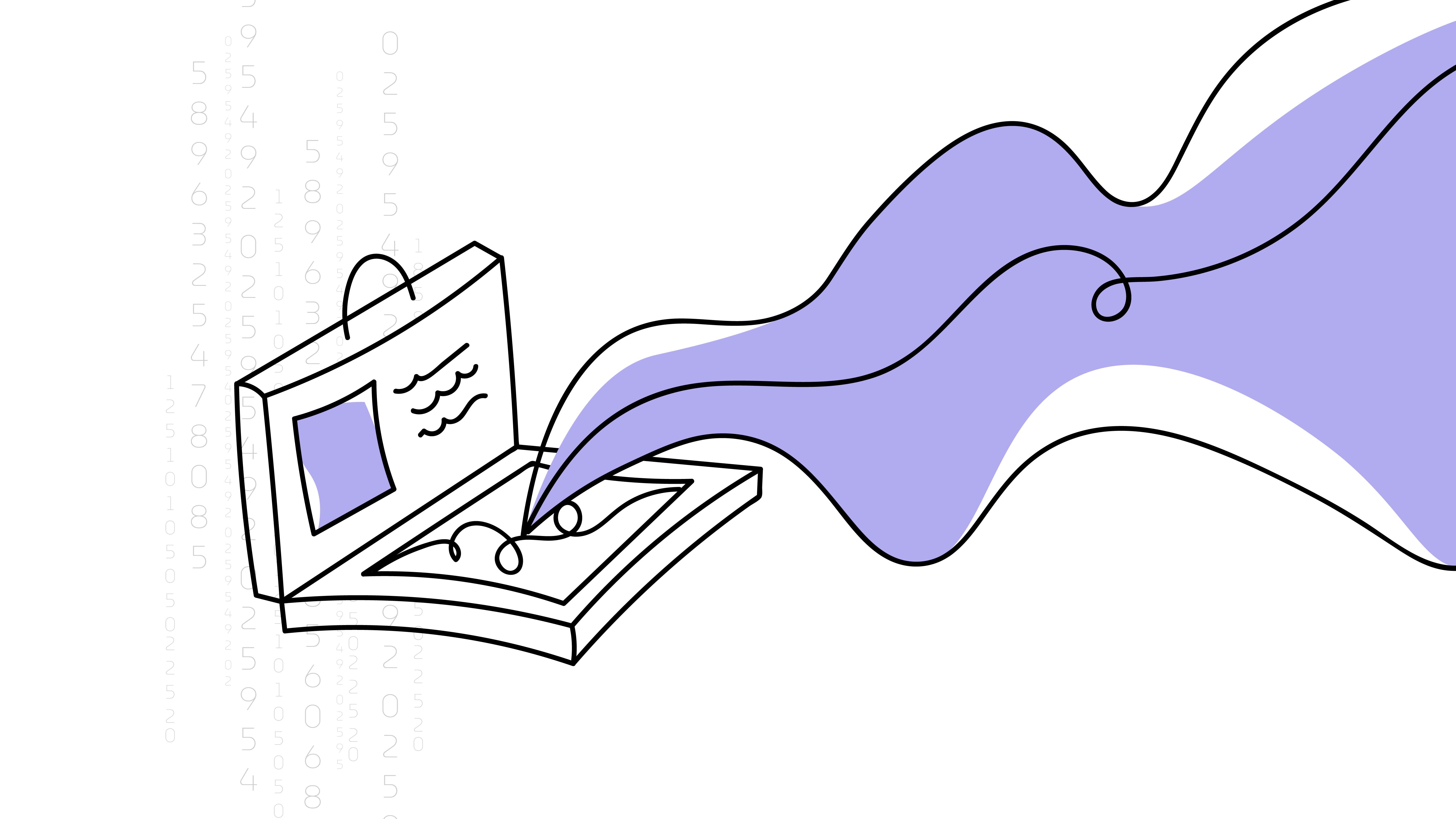 An outline illustration of a portfolio case.