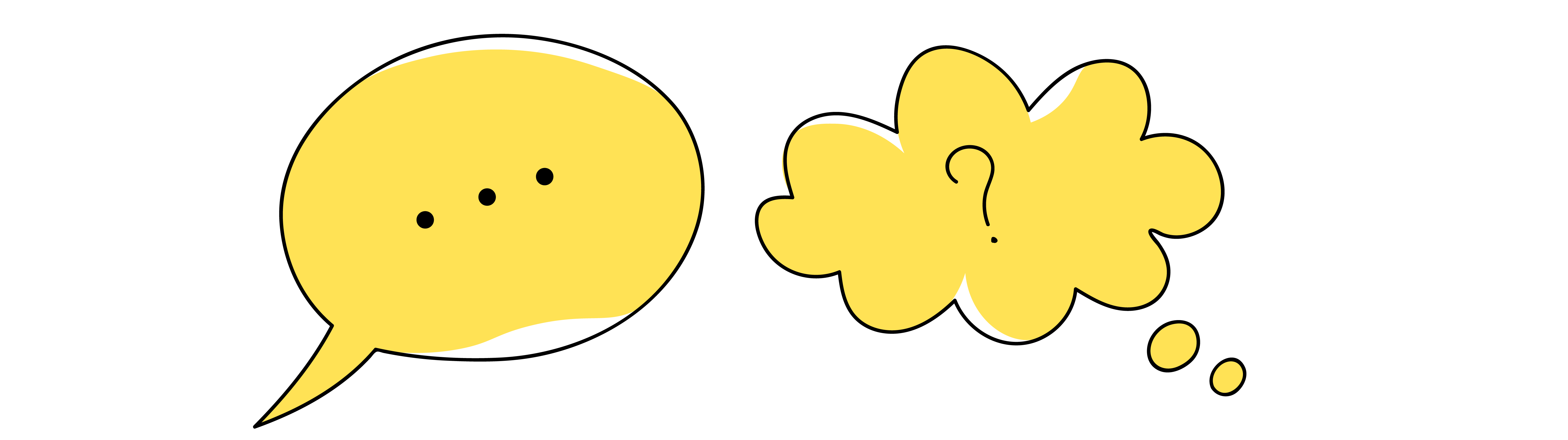 An outline illustration of 2 yellow speech bubbles.