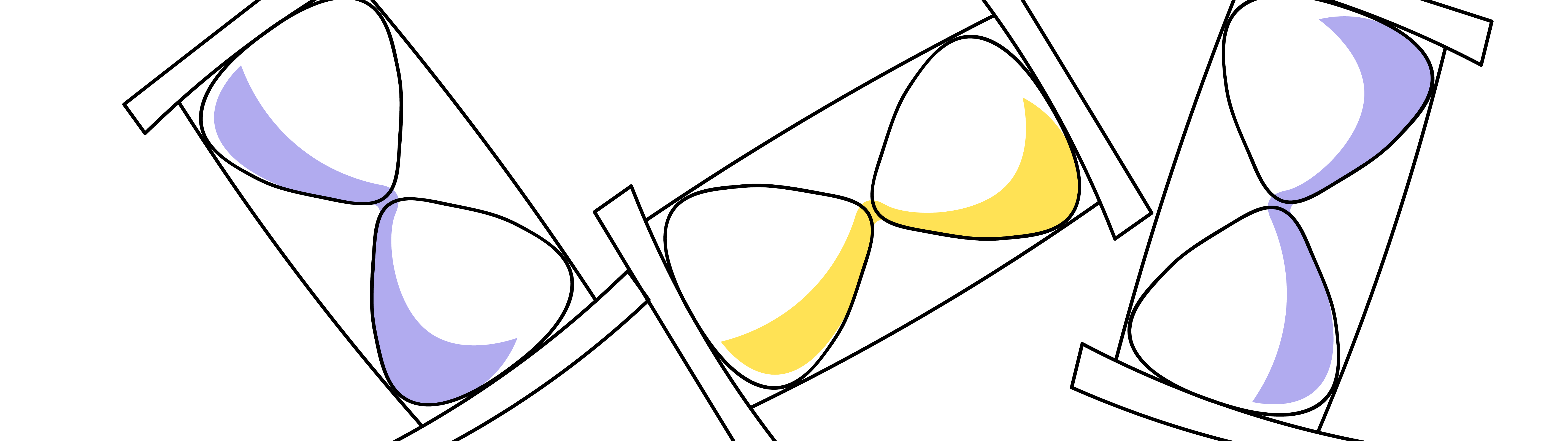 An outline illustration of three hourglasses representing time management.