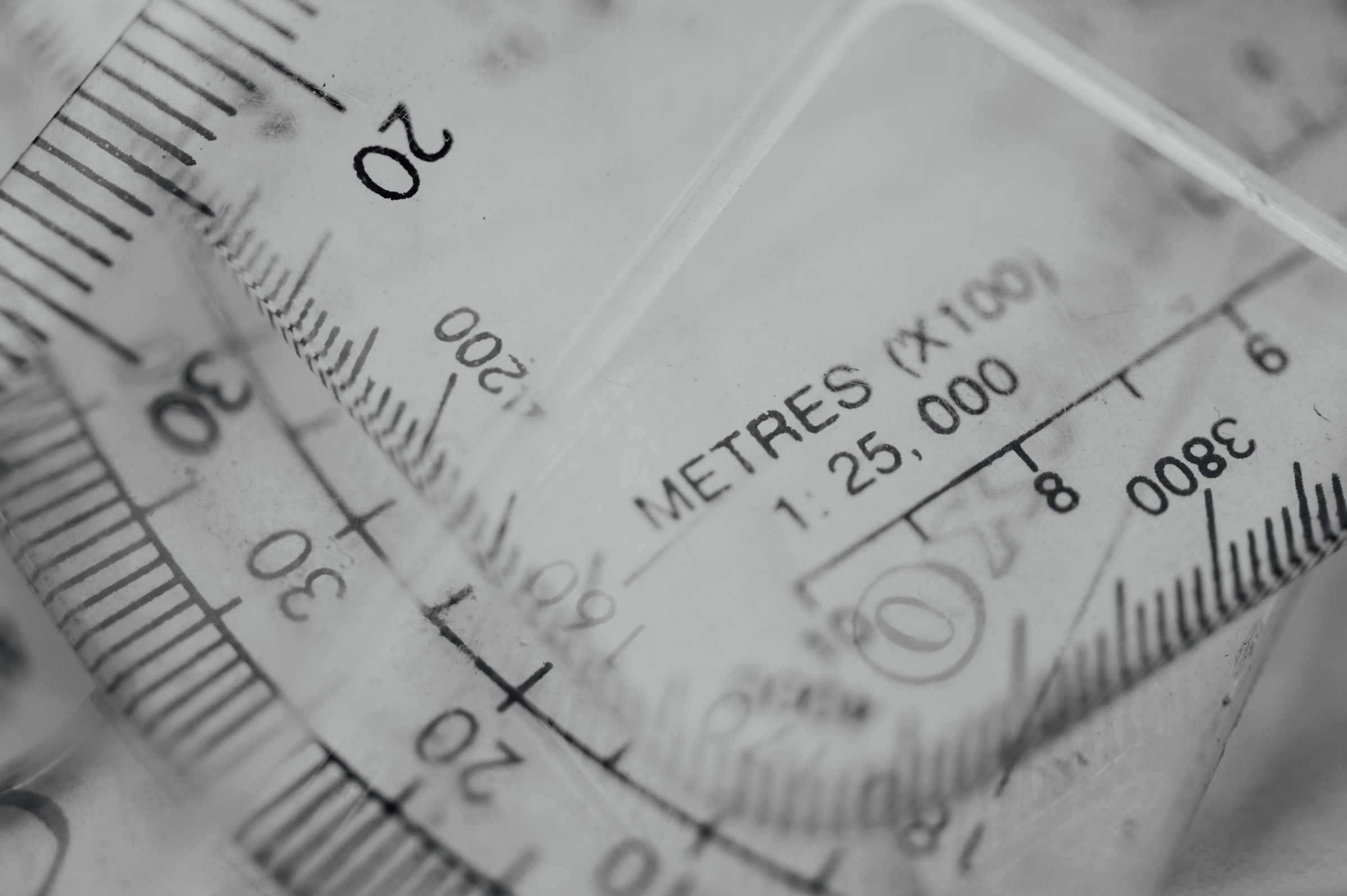 A lot of transparent rulers