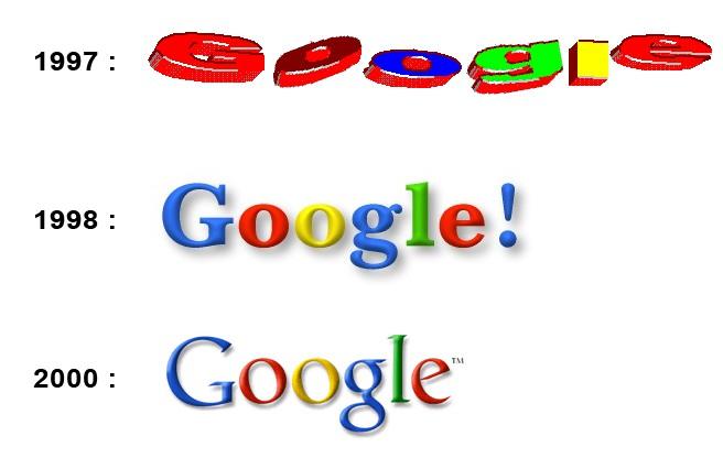 Early Google logo design variations.