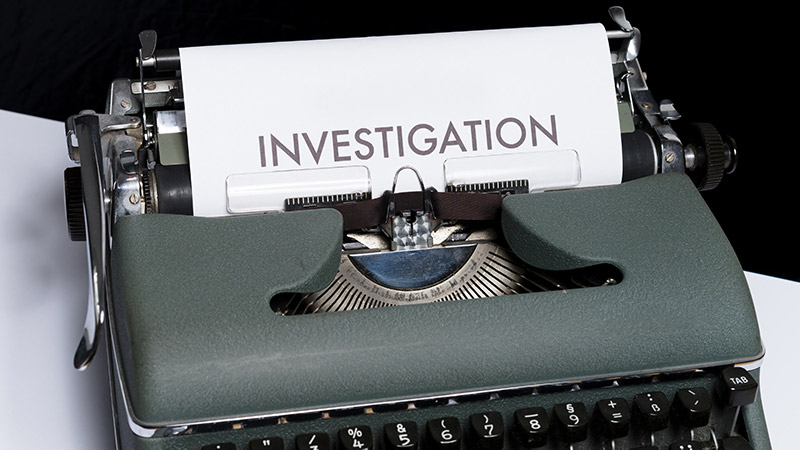 Literally the word 'investigation' typed out.