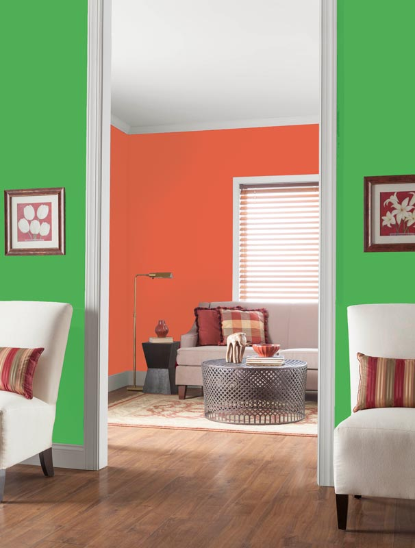 Asparagus Green and Burning Sand look in the interior