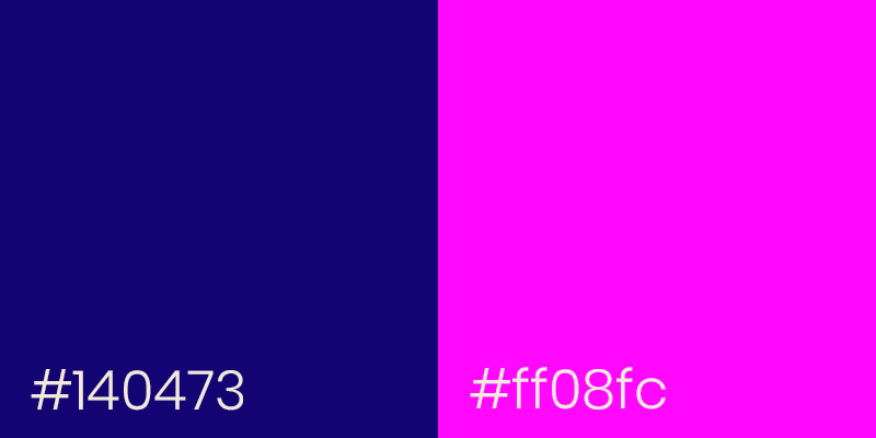 Indigo Blue and Neon Pink color examples