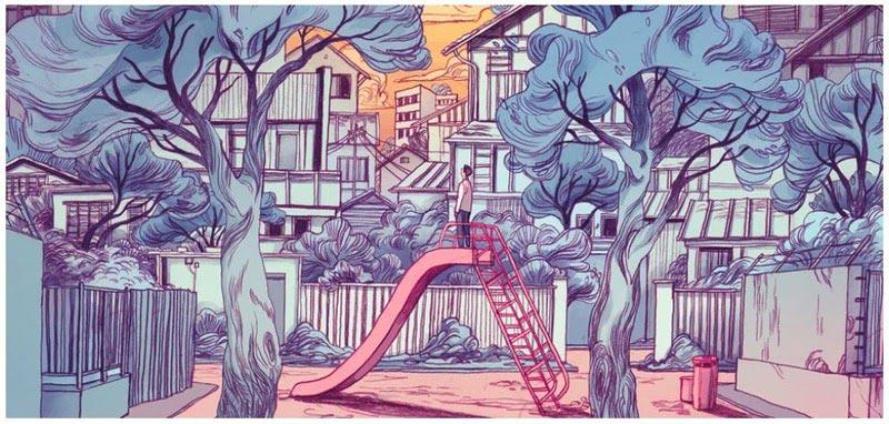 A man on the playground illustration