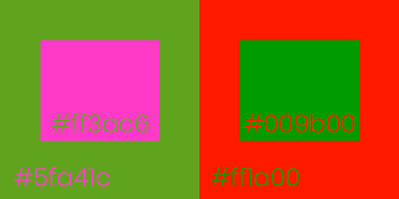 Green on Red and Red on Green color combinations