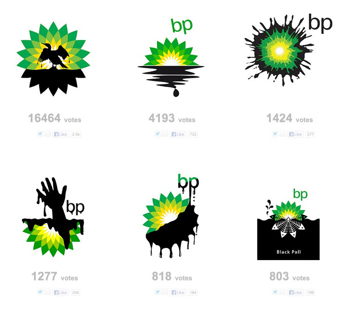 6 parody logos made by people reminding about petroleum disaster