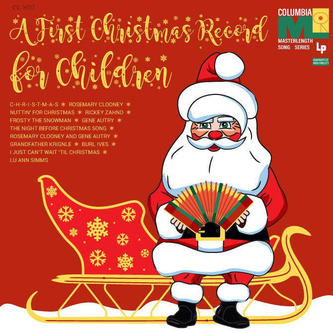 """Edited album cover with more holiday font of the name: """"A First Christmas Record for Children"""""""