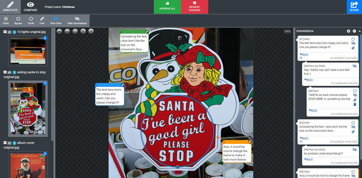 Screenshot example of communication of the desgin via Approval Studio