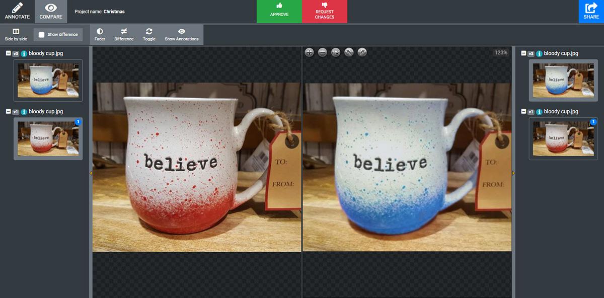 Comparison of two cup designs
