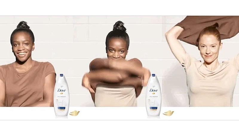 Black woman taking shirt off becomes a white woman