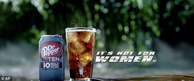 """Dr. Pepper drink with """"It's not for women"""" caption"""