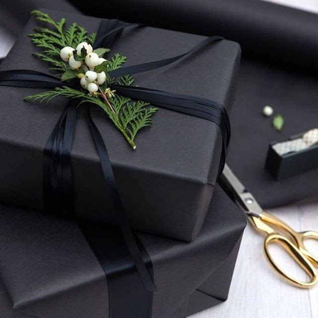 A present wrapped into black matte paper