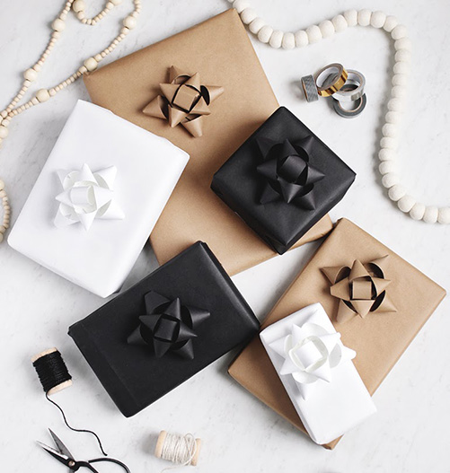 Black, white and kraft papered presents