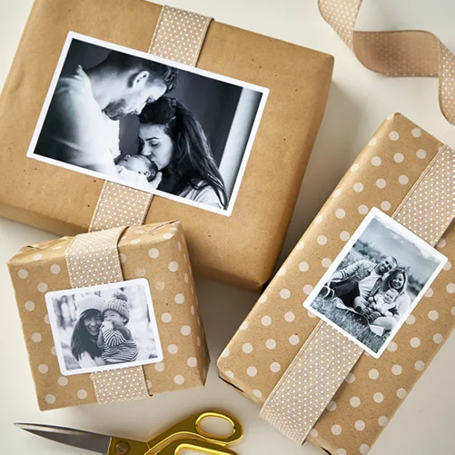Black-white family photos as present decorations