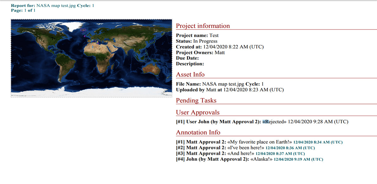 Proof Report in Approval Studio