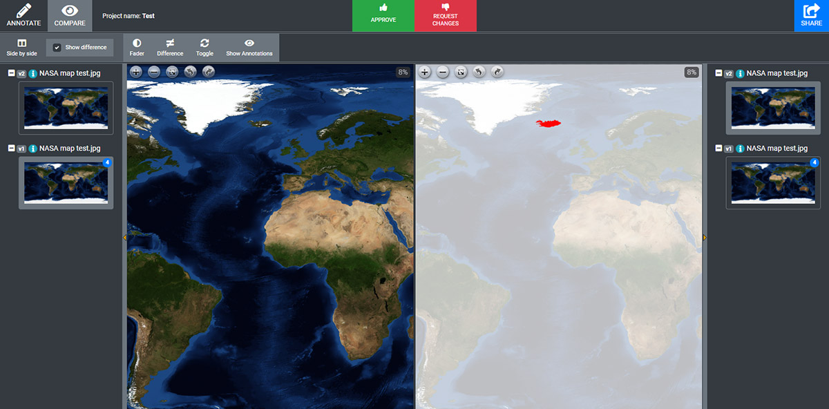 Two versions: one highlights the changes in red