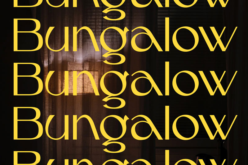 Bungalow typed over the image