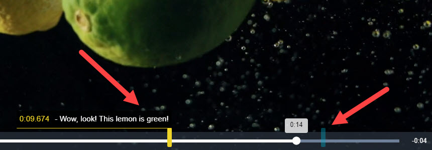 """Hidhlight dashes on the playback bar with annotation """"Wow, look! This lemon is green!"""