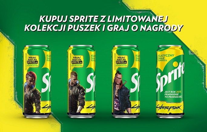 Four Sprite cans with different characters on them