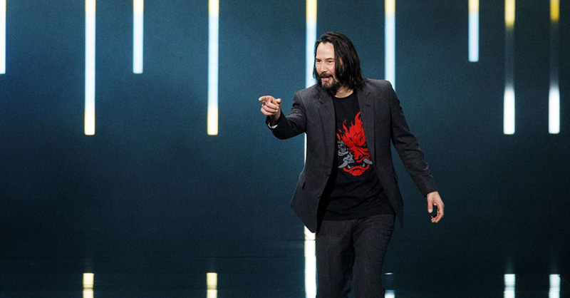 """Keanu Reeves pointing at the crowd saying """"You're breathtaking!"""""""